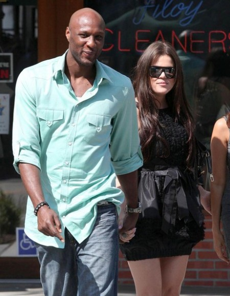 Khloe Kardashian and husband Lamar Odom leaving La Scala restaurant in Beverly Hills.