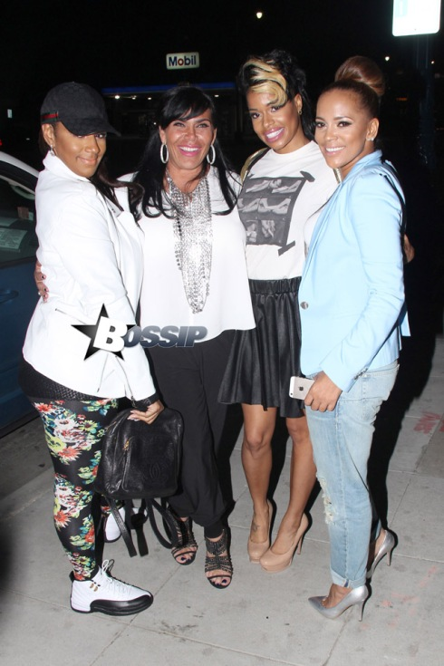 Jackie Christie and Sundy Carter from Basketball Wives of LA pose up for photos for fans in Beverly Hills.  The basketball wives were excited for the start of season 3 to start up.